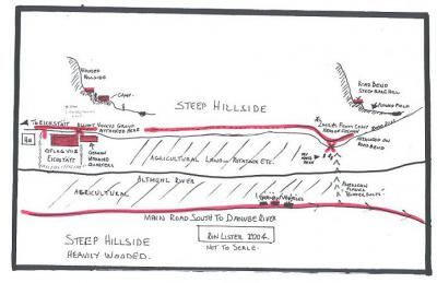 Hand-drawn map showing the terrain described in the article