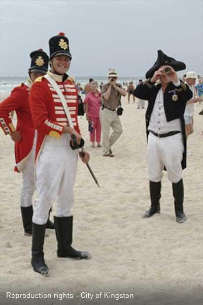 Re-enactment of the landing of Charles Grimes, Surveyor General of New South Wales on Long Beach in 1803 [picture].