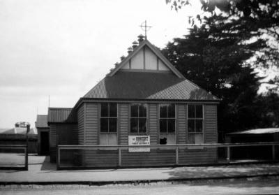 First Roman Catholic church and school in Mentone [photo]