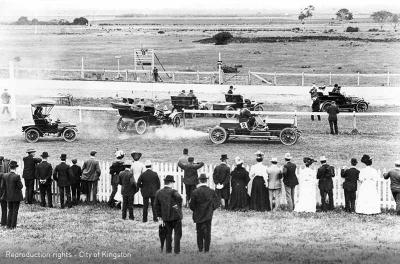 RACV Club racing vintage cars at Aspendale Race Course, c1915 [picture].