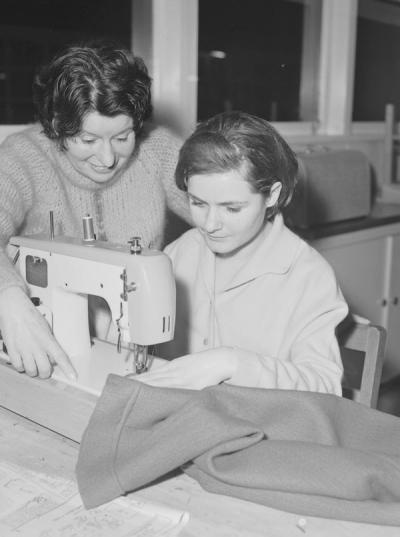 Dressmaking with teacher Mrs D Hellier, 1966 [picture]