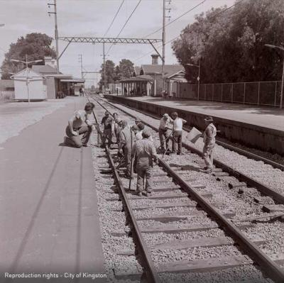 Workmen on the line at Cheltenham Railway Station, 1973 [picture].