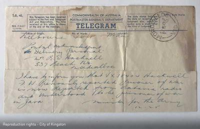 Telegram from Minister for Army to Mrs B Hackwell [Picture].