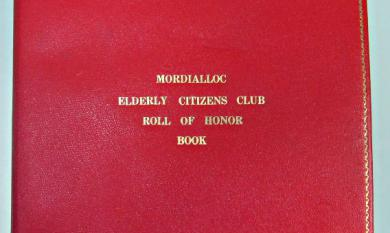 Cover of the Mordialloc Elderly Citizens' Roll of Honor Book [Picture].