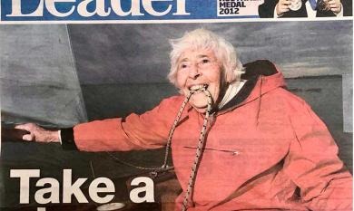 Anne at 90 on front page of Mordialloc Chelsea Leader [picture].