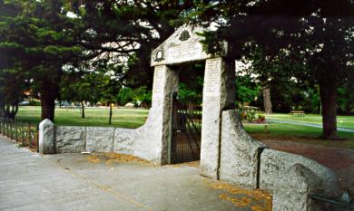 Memorial gate recording men who served and died in WW1. Site of the Anzac service [picture].