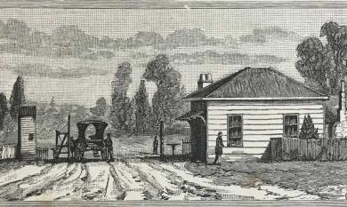 Etching of Toll Gate at St Kilda, c1865.
