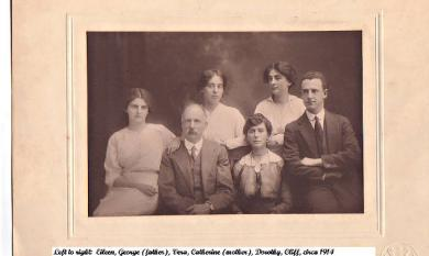 Scantlebury family L to R: Eileen, George,(father), Vera, Catherine (mother) Dorothy, Cliff [picture].