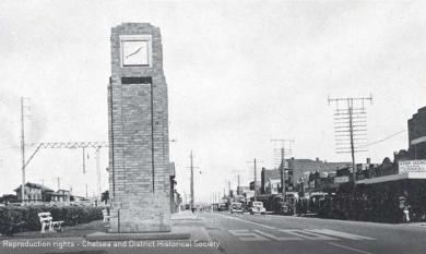 Clock Tower at Chelsea on Point Nepean Road, adjacent to the railway line.  Erected 1934 [picture].