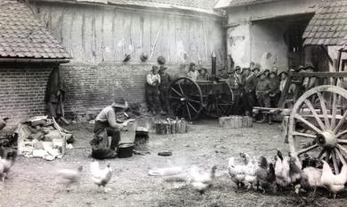 Australian soldiers bivouac in a French farmhouse during first World War [picture].