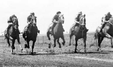 Horses training on Epsom Track, 1974 [Picture].