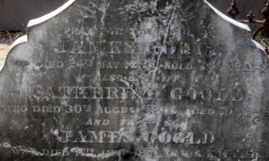 Detail of the grave stone of James and Catherine Goold at the Brighton Cemetery, East Brighton [picture].