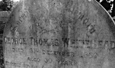 Headstone on the grave of George Thomas Whitehead who died 31 December 1889, erected by his loving brother at the Cheltenham Cemetery [picture].