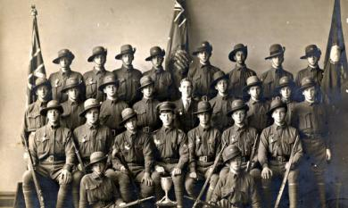 Senior cadets at Ballarat, Tom Wasley fifth from left in front row [Picture].