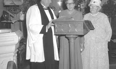 Mrs Armstrong centre, a founder of St Aidan's Anglican Church Carrum with Rev C T Holloway vicar, and Miss Nellie Somerville [picture].