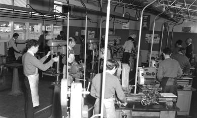 Machine Shop at Aspendale Technical School, 1966 [picture]