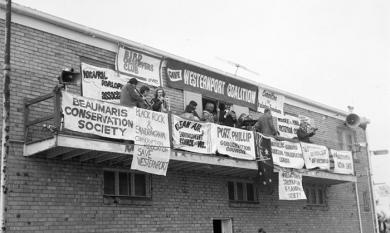 Protestors at the Mordialloc Life Saving Club [picture].