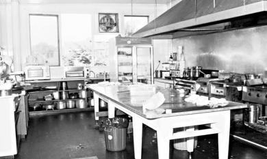 View of the kitchen at the Mentone Hotel [Picture].