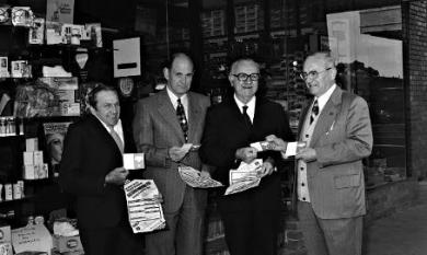 Cr. Frank Le Page, Cr. David Blackburn, Mr Bill Fry MLC at the opening of the new ANA Friendly Society dispensary in Charman Road Cheltenham [picture].