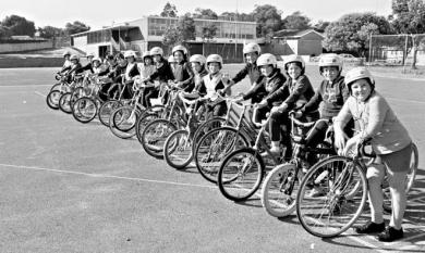 Pupils from OLA primary school in Cheltenham lined up on the bicycles during a bicycle safety program [picture].