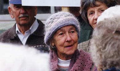 Edna Hoffman protests planned closure of the McKinnon Library [picture].