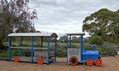 Bicentennial park blue train play equipment [picture].