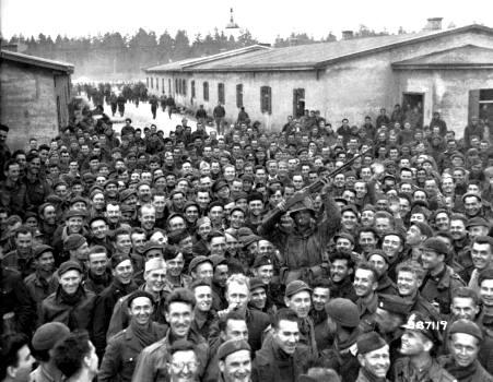 Large group of male prisoners of war