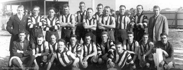 Moorabbin Football Club Team 1928 with Dane Street club house in background [picture].