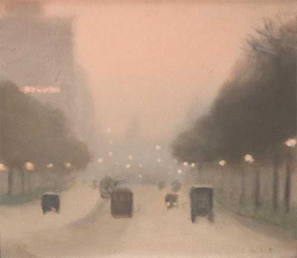 Evening St Kilda Road, Melbourne c1930, by Clarice Beckett [picture].