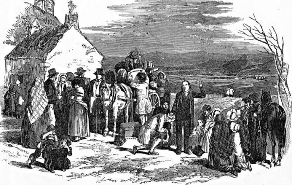 Priest's blessing on emigrants waiting for ships to America, Canada or Australia on the quay at Cork Ireland [picture].