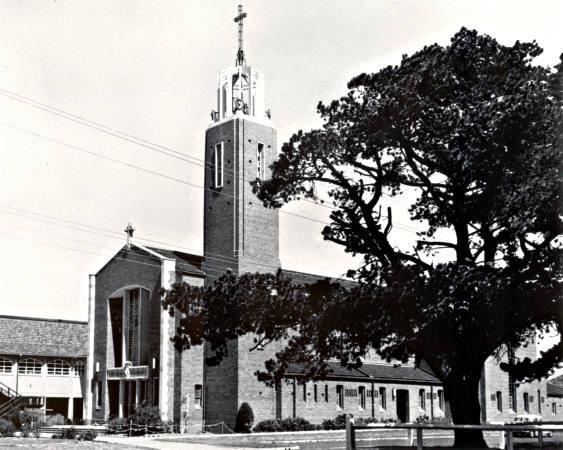 St Patrick's Roman Catholic Church in Mentone with bell tower, c1960 [picture].