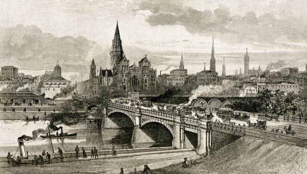 Princes Bridge and the Yarra River, Melbourne, 1888 [illustration].