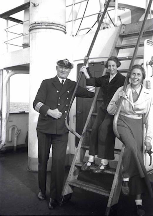 "On board the Wuppertal from left: ""Wuppertal"" Captain Valentin Wenk, Dorothea, Anne [picture]."