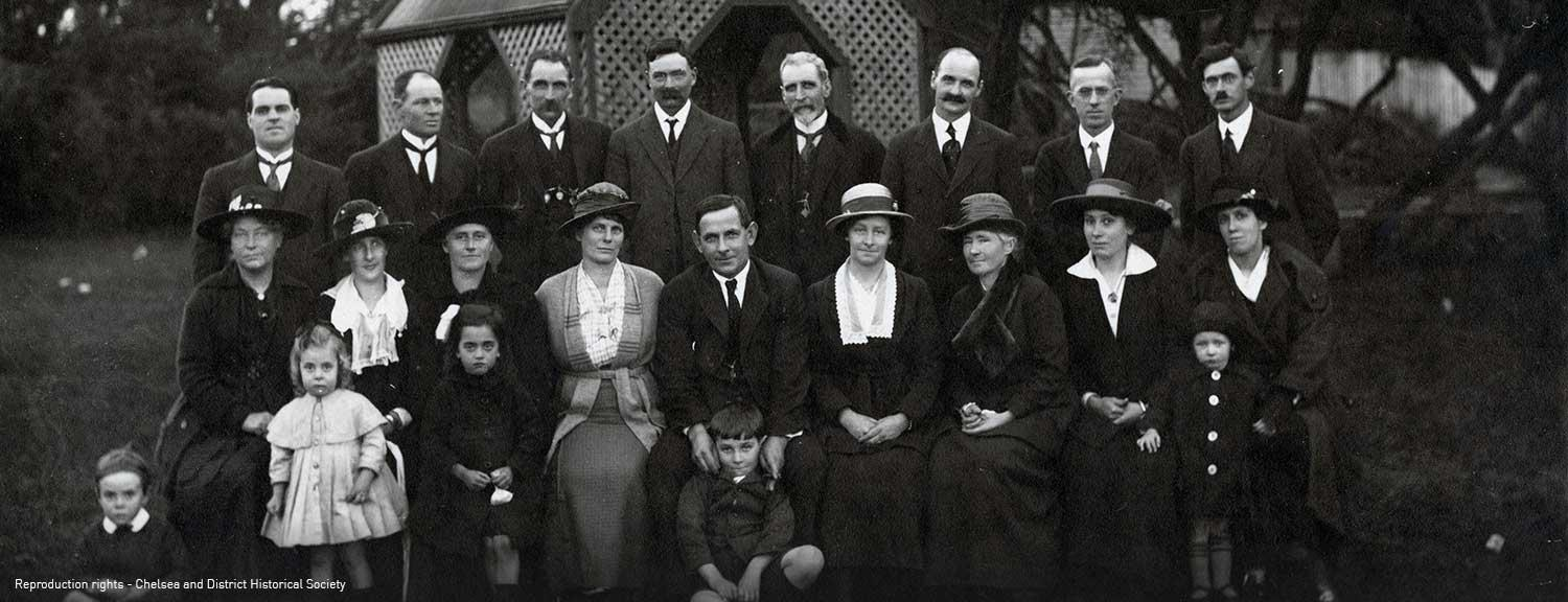 First Chelsea Council - Councillors with their wives and children [picture].