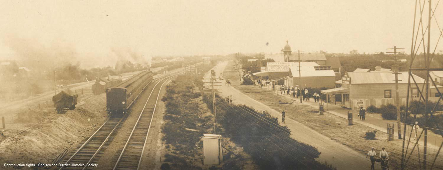 Main Street Chelsea with dual track railway line [picture].
